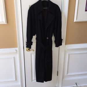 100% wool fulllength black dress coat satin inside